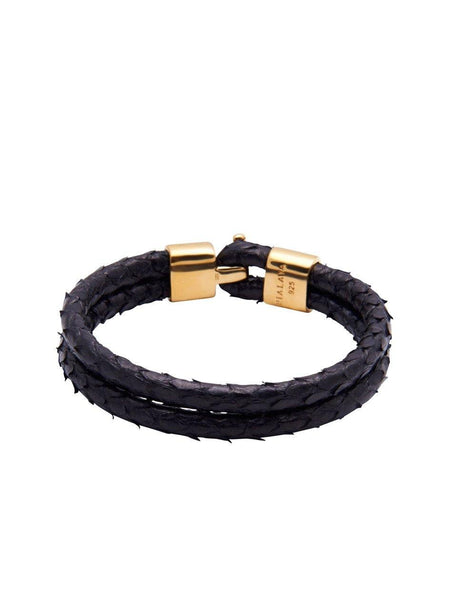 Men's Python Collection - Black Python with Gold Lock - Nialaya Jewelry  - 2