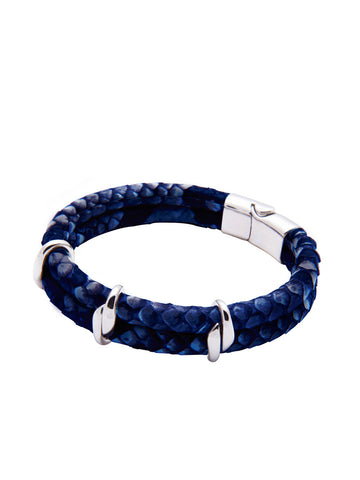 Men's Python Collection - Dark Blue Python with Silver