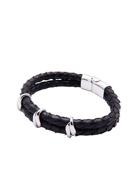 Men's Python Collection - Black Python with Silver - Nialaya Jewelry  - 1