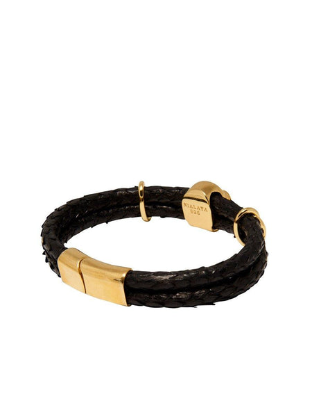 Men's Python Collection - Black Python with Gold Skull - Nialaya Jewelry  - 3