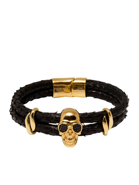 Men's Python Collection - Black Python with Gold Skull - Nialaya Jewelry  - 4