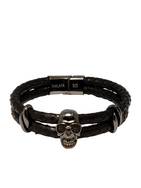 Men's Python Collection - Black Python with Black Skull - Nialaya Jewelry  - 4