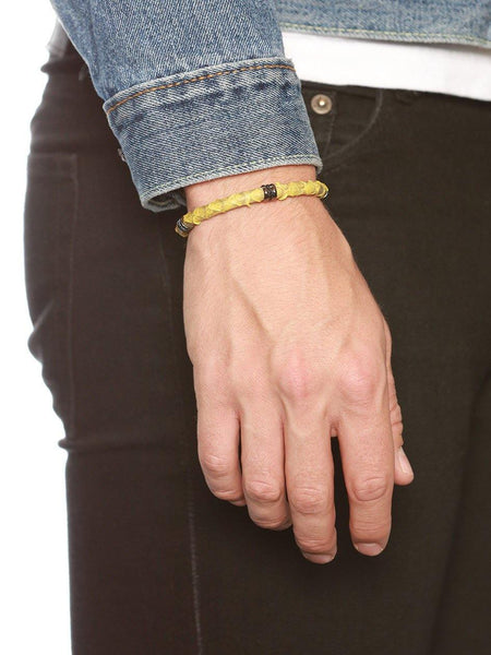 Men's Python Collection - Yellow Python with Black Rhodium Ring Accents - Nialaya Jewelry  - 3