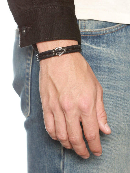Men's Python Collection - Black Python with Diamond Shaped Black Rhodium Accent - Nialaya Jewelry  - 3