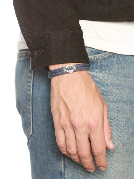 Men's Python Collection - Blue Python with Diamond Shaped Silver Accent - Nialaya Jewelry  - 3