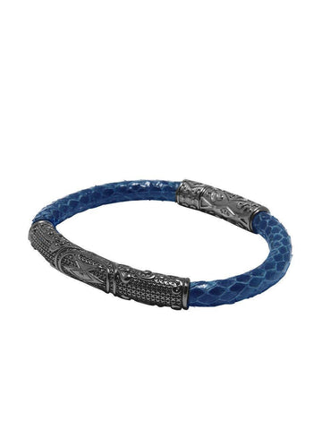 Men's Python Collection - Dark Blue Python with Black Rhodium Accent