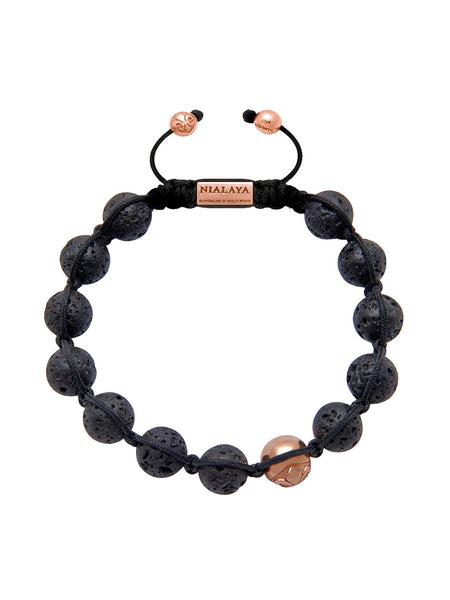 Men's Beaded Bracelet with Rose Gold and Lava Stone - Nialaya Jewelry  - 1