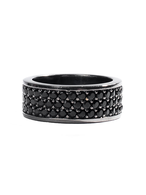 Black Trio-Row Ring With Black CZ Diamonds