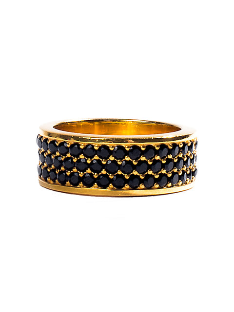 Gold Trio-Row Ring with Black CZ Diamonds - NIALAYA INC
