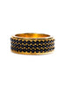 Gold Trio-Row Ring with Black CZ Diamonds