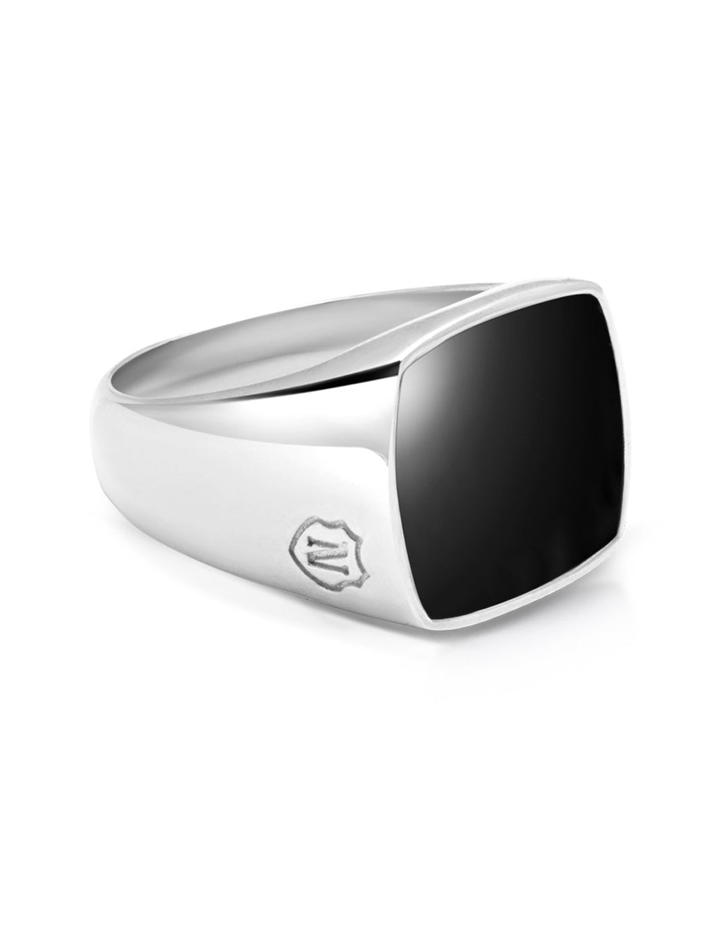 Men's Silver Cocktail Ring with Onyx