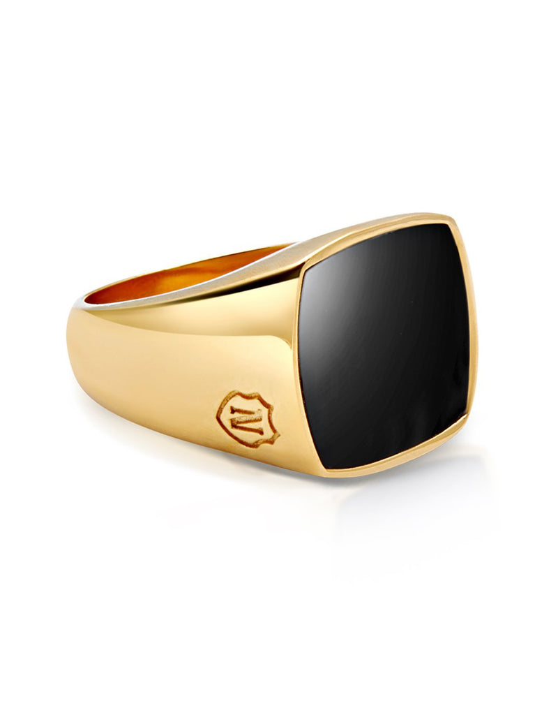 Men's Golden Cocktail Ring with Onyx