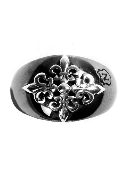 Black Ruthenium & Silver Crest Ring - Nialaya Jewelry  - 2