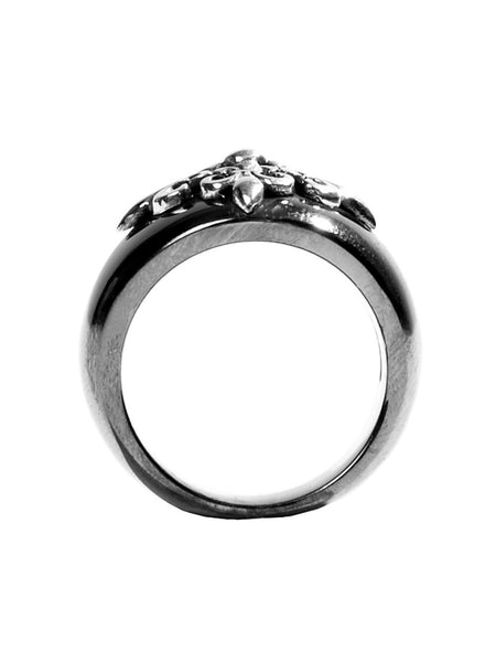 Black Ruthenium & Silver Crest Ring - Nialaya Jewelry  - 4