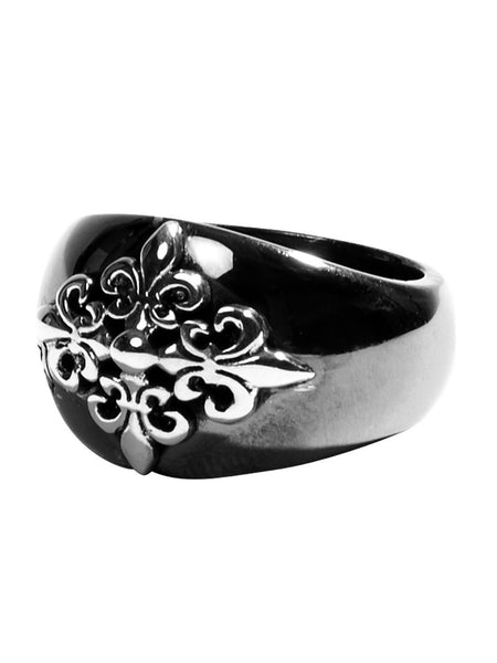 Black Ruthenium & Silver Crest Ring - Nialaya Jewelry  - 1