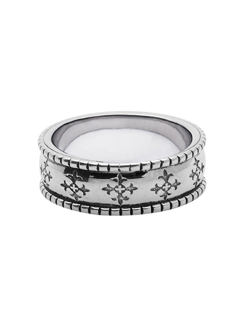 Men's Silver Cross Patterned Ring - NIALAYA INC