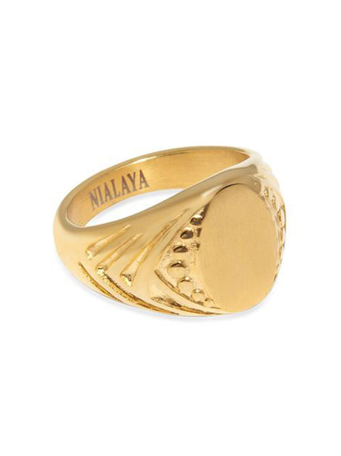Men's Gold Signet Ring - Nialaya Jewelry
