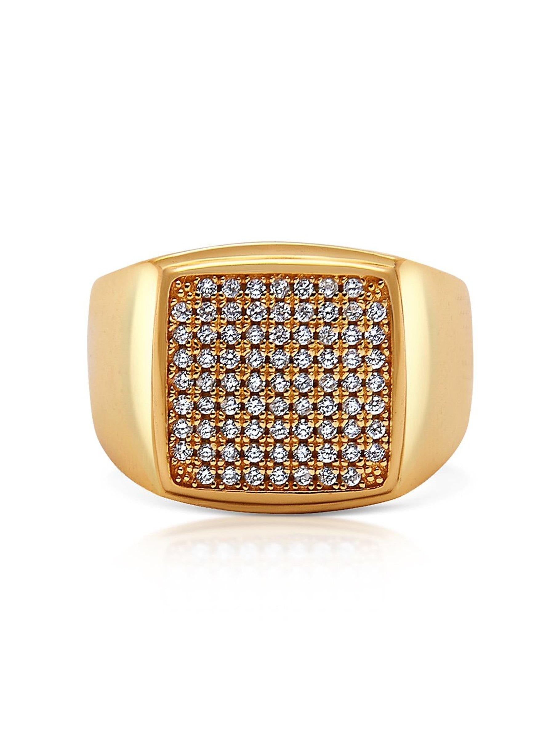 Men's Gold CZ Signet Ring