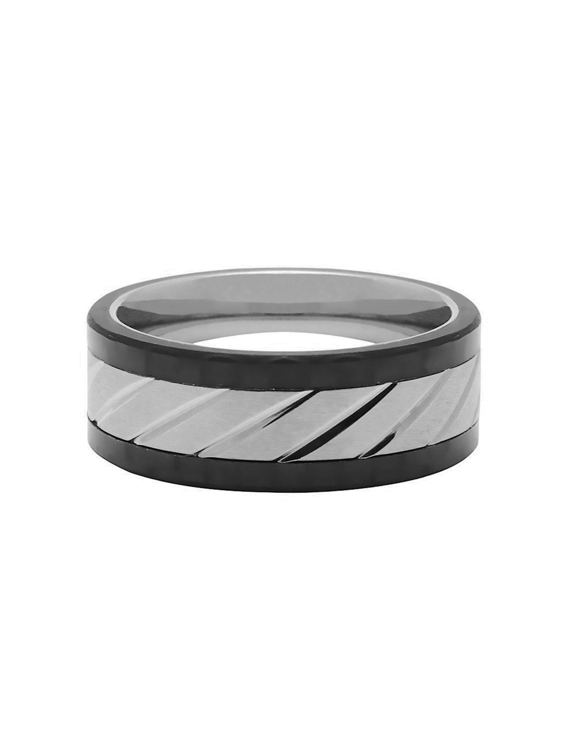 Men's Titanium and Carbon Cable Ring