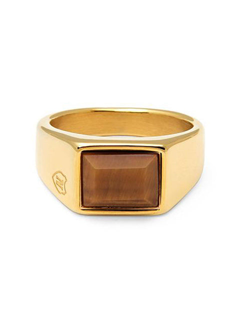 Men's Gold Squared Signet Ring with Brown Tiger Eye - Nialaya Jewelry