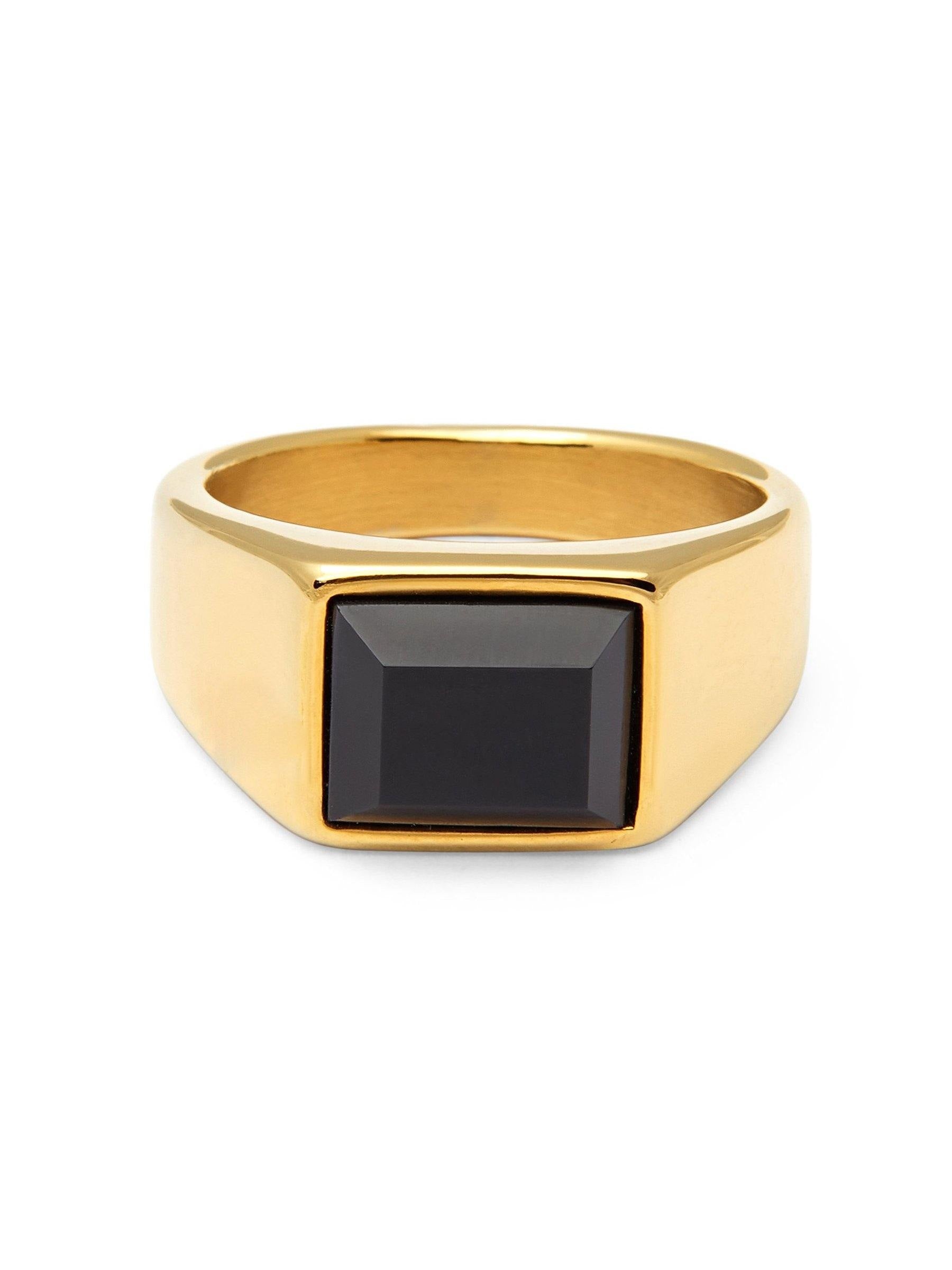 Men's Gold Squared Signet Ring with Onyx - Nialaya Jewelry
