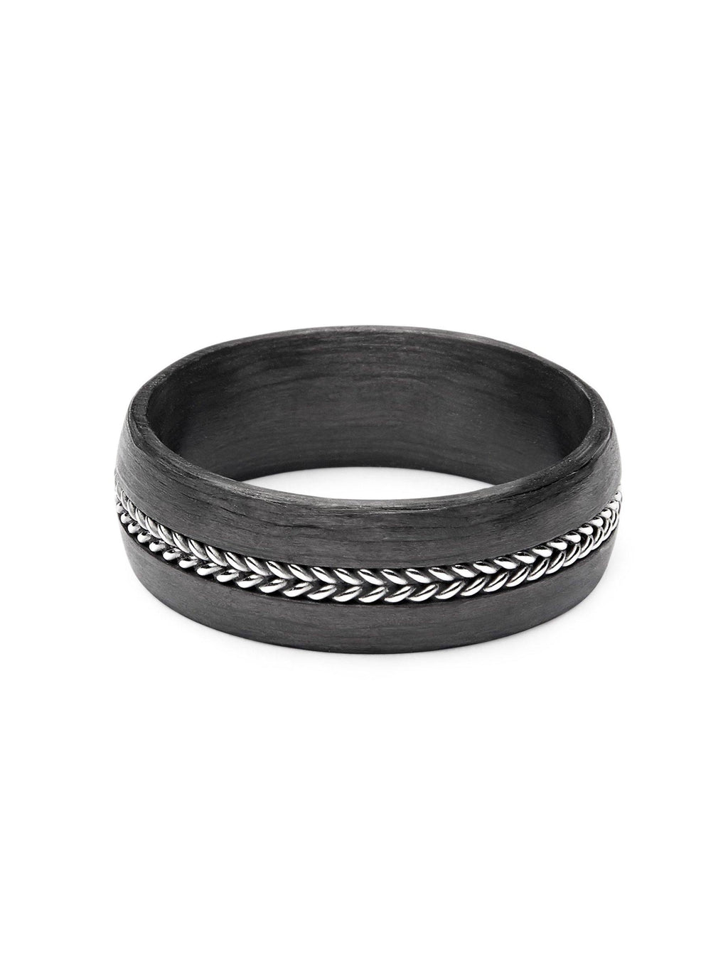 Men's Carbon Fiber Ring with Chain Detail