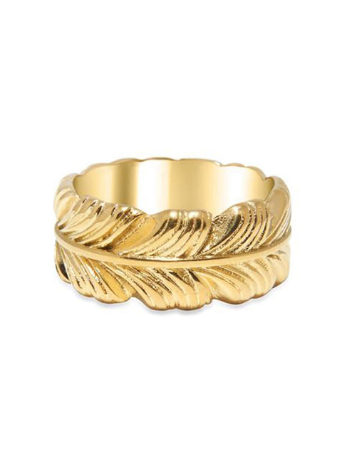 Men's Gold Feather Ring - Nialaya Jewelry