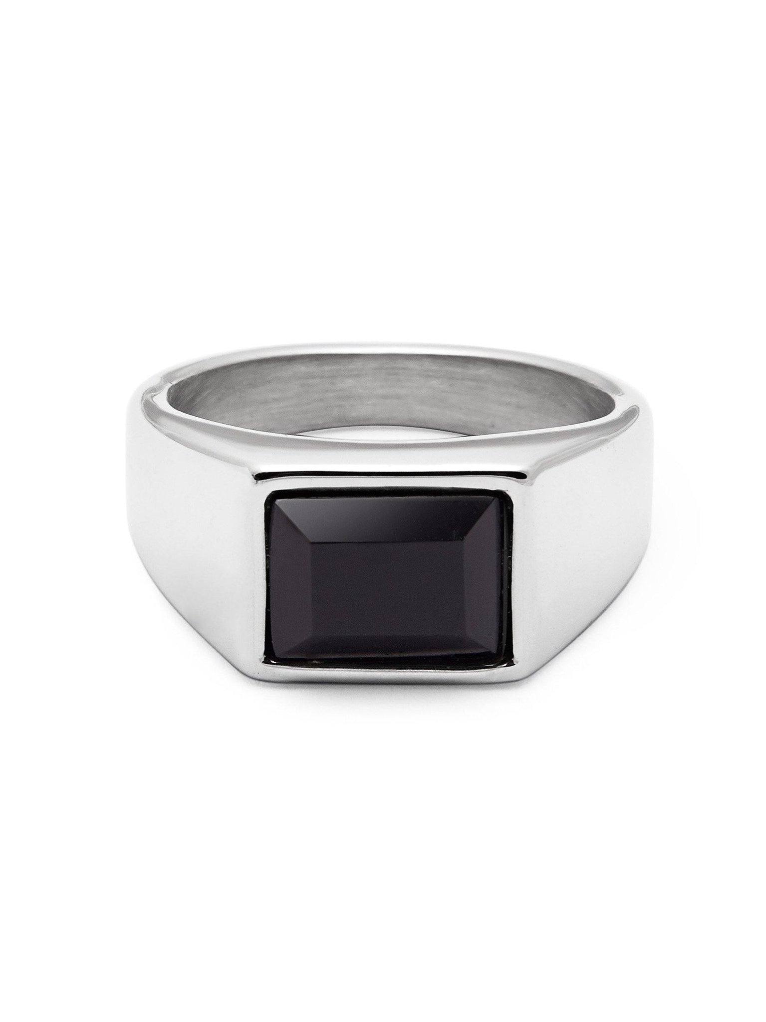 Men's Silver Squared Signet Ring with Onyx - Nialaya Jewelry