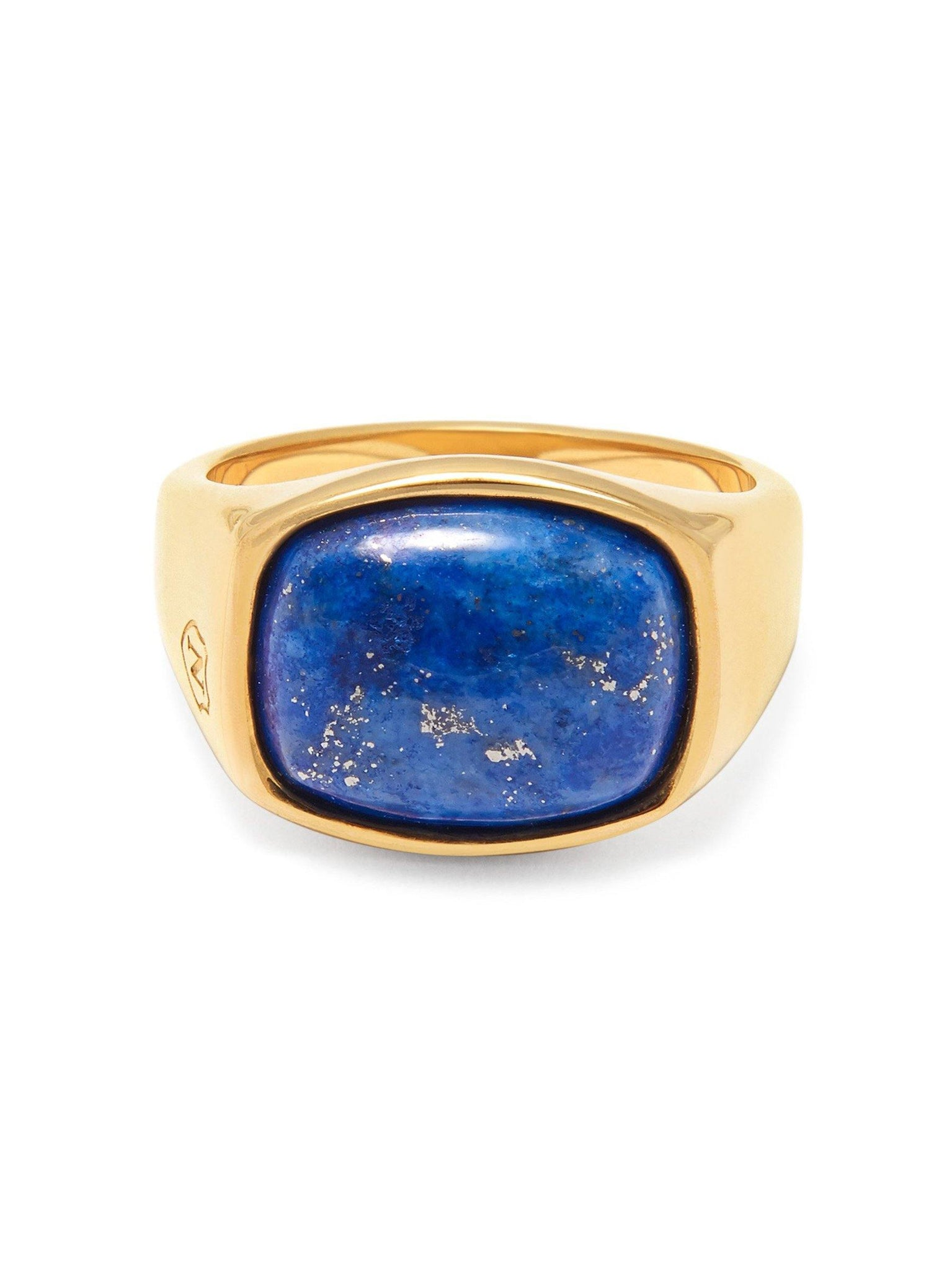 Men's Gold Signet Ring with Blue Lapis - Nialaya Jewelry