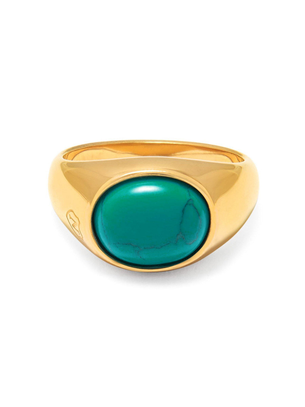 Men's Gold Oval Signet Ring with Turquoise