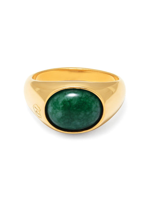 Men's Gold Oval Signet Ring with Green Jade - NIALAYA INC
