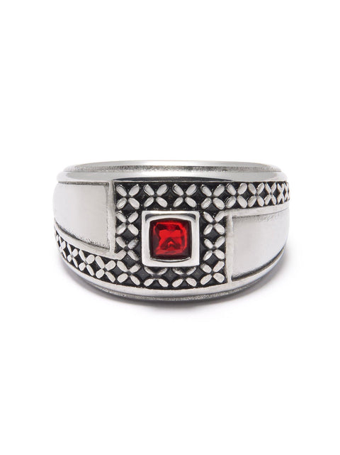 Men's Silver Ring with Red Stone