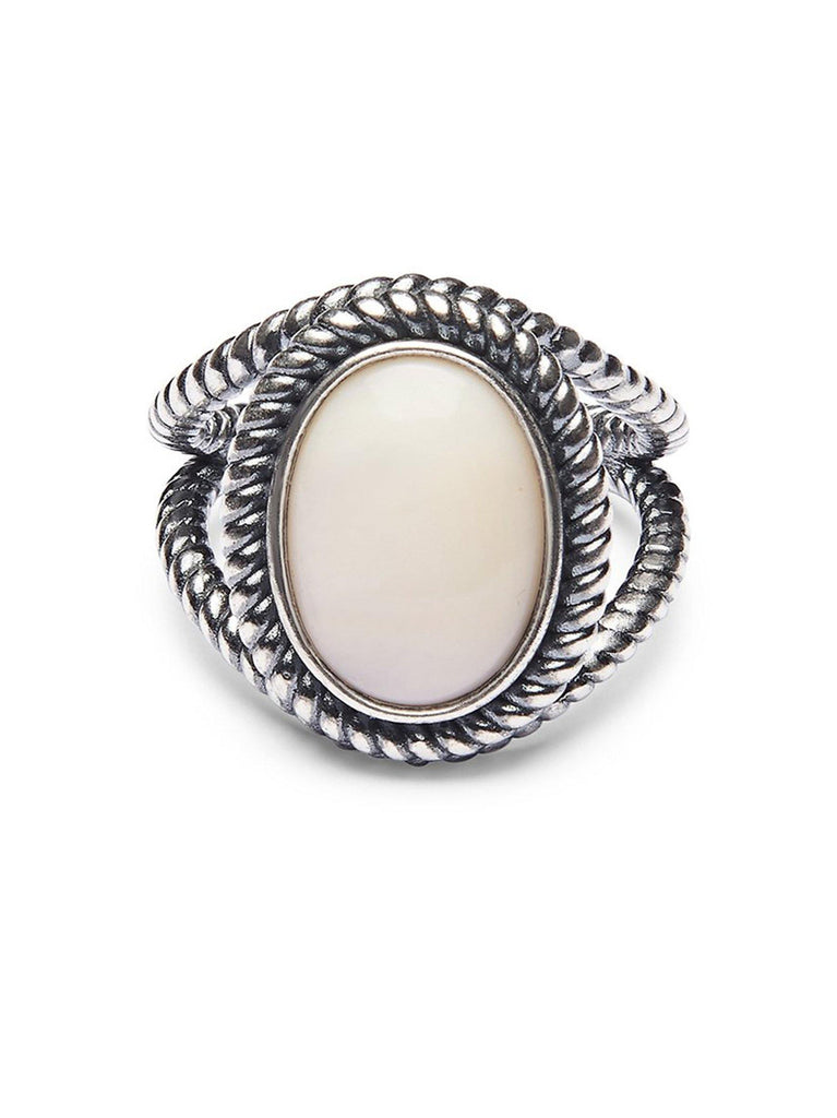 Men's Silver Ring with Mother Of Pearl Stone