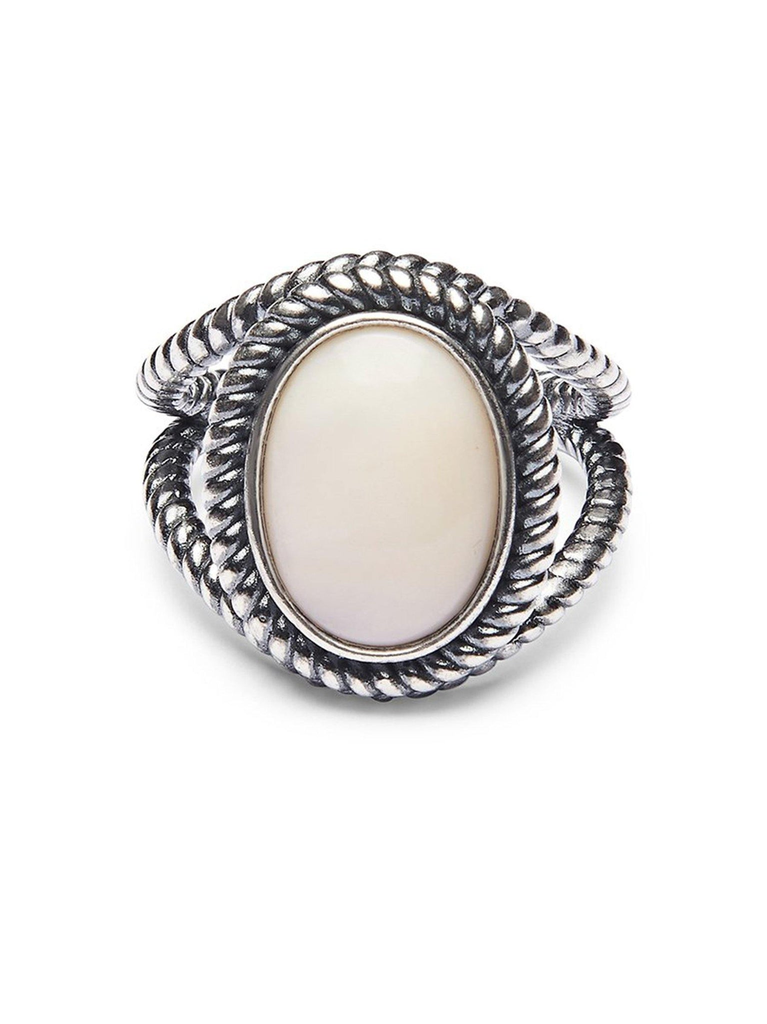 Men's Silver Ring with Mother Of Pearl Stone - Nialaya Jewelry