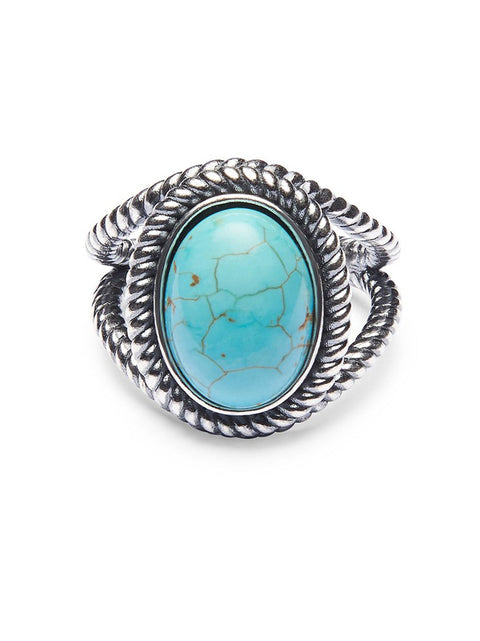 Men's Silver Ring with Turquoise Stone - Nialaya Jewelry