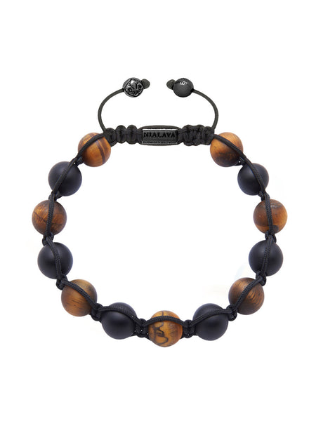 Men's Beaded Bracelet with Matte Onyx and Matte Tiger Eye - Nialaya Jewelry  - 1