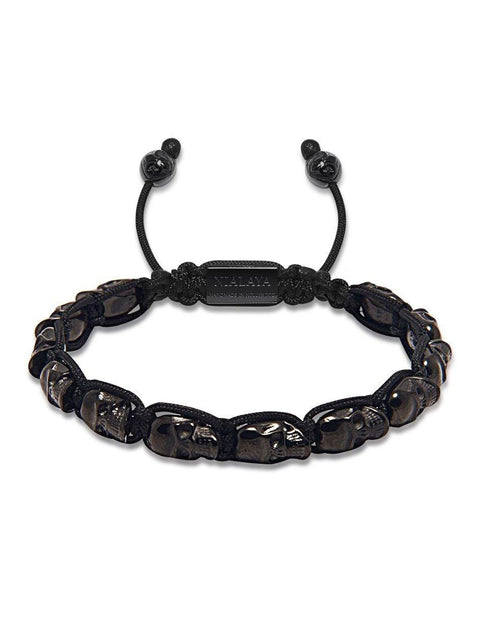 Black Skull Beaded Bracelet - NIALAYA INC