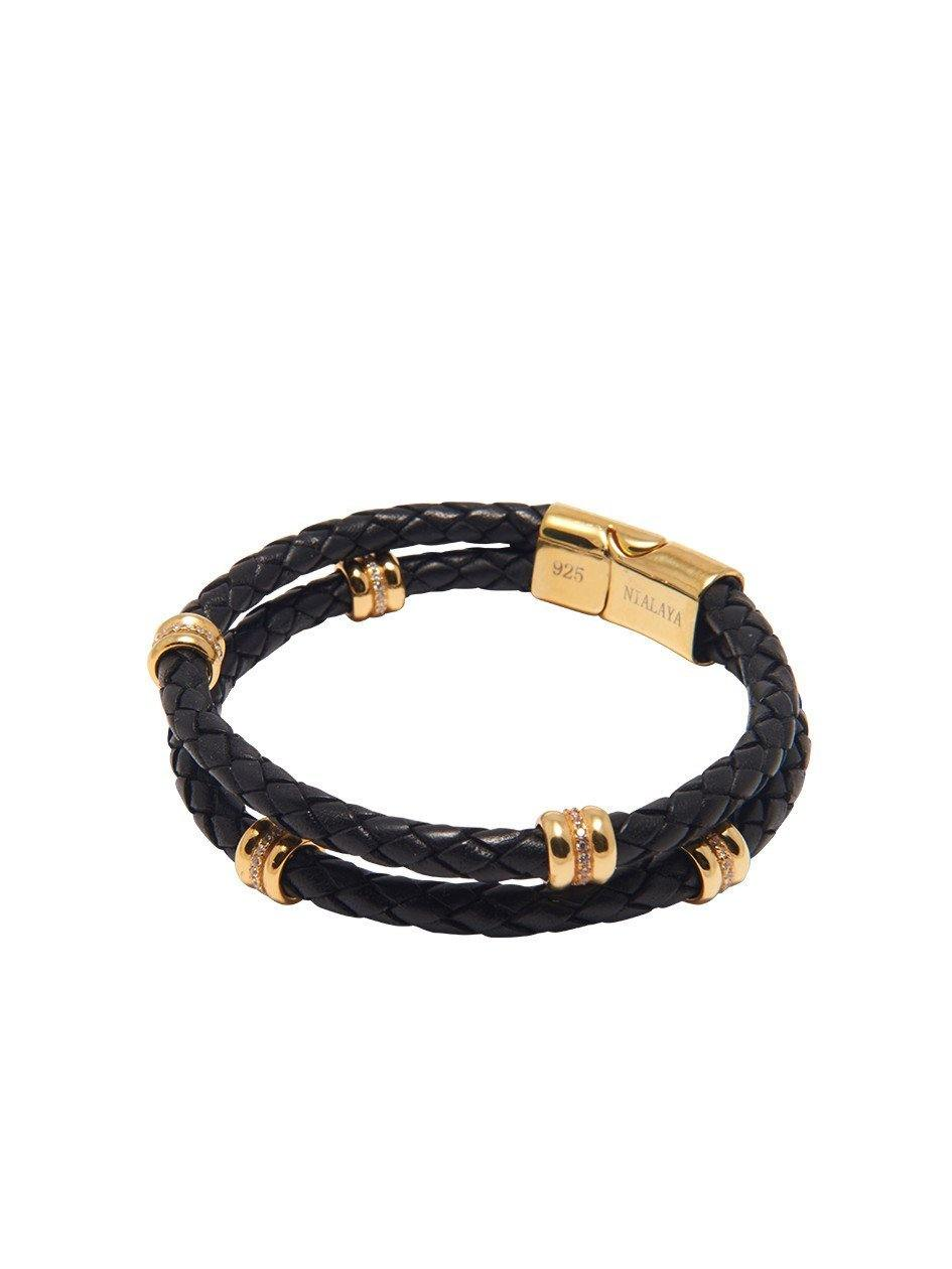 Men's Black Leather Bracelet With Gold Ring Accents
