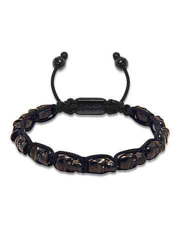 Men's Black Leather Bracelet with Silver Beads