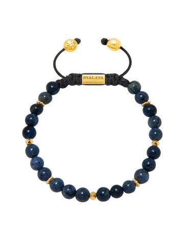 Men's Beaded Bracelet With Blue Coral and Gold