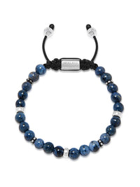 Nialaya Men's Bracelets - Men's Beaded Bracelet With Blue Dumortierite And Silver
