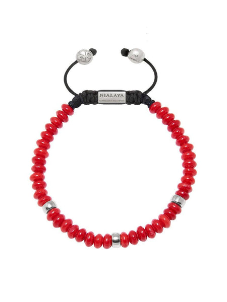 The Mykonos Collection - Red Coral and Silver - Nialaya Jewelry  - 1