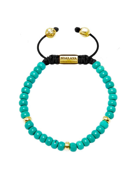 The Mykonos Collection - Turquoise and Gold - Nialaya Jewelry  - 1