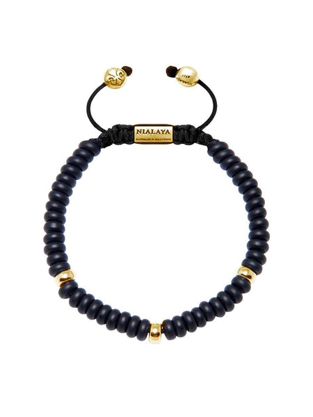 The Mykonos Collection - Matte Onyx and Gold - Nialaya Jewelry  - 1
