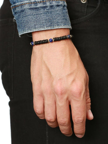 The Mykonos Collection - Matte Onyx and Blue Lapis - Nialaya Jewelry  - 2