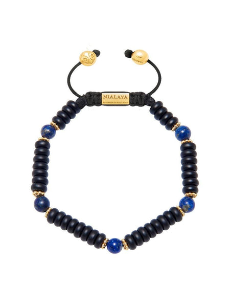 The Mykonos Collection - Matte Onyx and Blue Lapis - Nialaya Jewelry  - 1