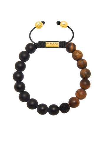 Men's Beaded Stingray Bracelet with Matte Onyx and Matte Tiger Eye
