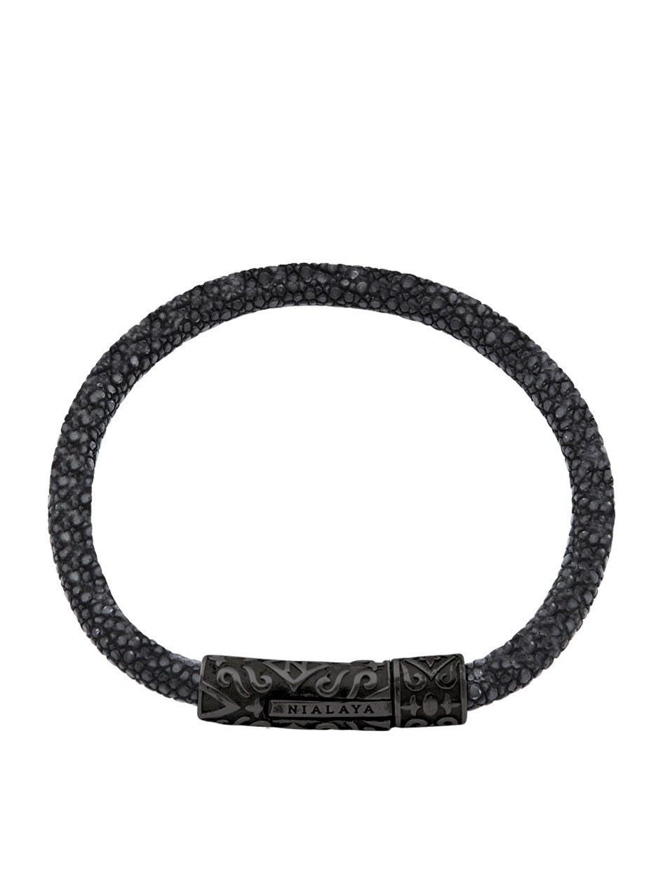 Men's Black Stingray Bracelet with Black Rhodium Lock - Nialaya Jewelry  - 1