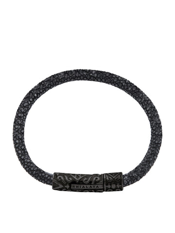 Men's Black Stingray Bracelet with Black Rhodium Lock