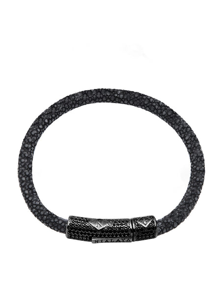 Men's Black Stingray Bracelet with Black CZ Diamond Lock - Nialaya Jewelry  - 1